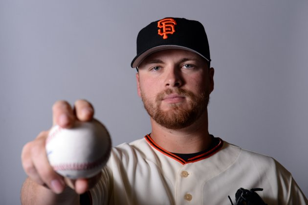 Feb 23, 2014; Scottsdale, AZ, USA; San Francisco Giants starting pitcher Erik Cordier (75) poses for a photo during photo day at Scottsdale Stadium. Mandatory Credit: Joe Camporeale-USA TODAY Sports